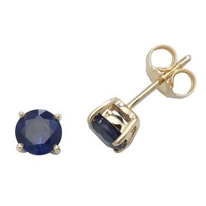 Solitaire Round Sapphire Stud Earrings in 9ct Yellow Gold