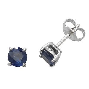 Solitaire Round Sapphire Stud Earrings in 9ct White Gold