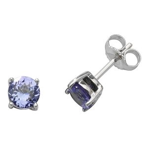 Solitaire Round Tanzanite Stud Earrings in 9ct White Gold