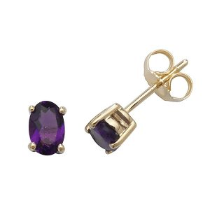 Solitaire Oval Amethyst Stud Earrings in 9ct Yellow Gold