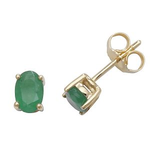 Solitaire Oval Emerald Stud Earrings in 9ct Yellow Gold