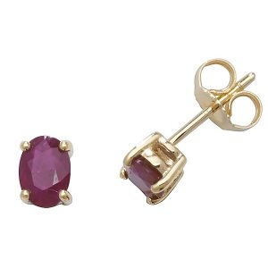 Solitaire Oval Ruby Stud Earrings in 9ct Yellow Gold