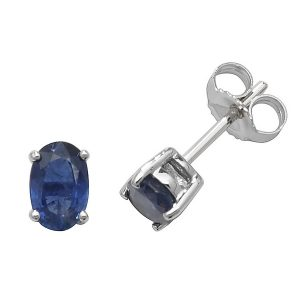 Solitaire Oval Sapphire Stud Earrings in 9ct White Gold