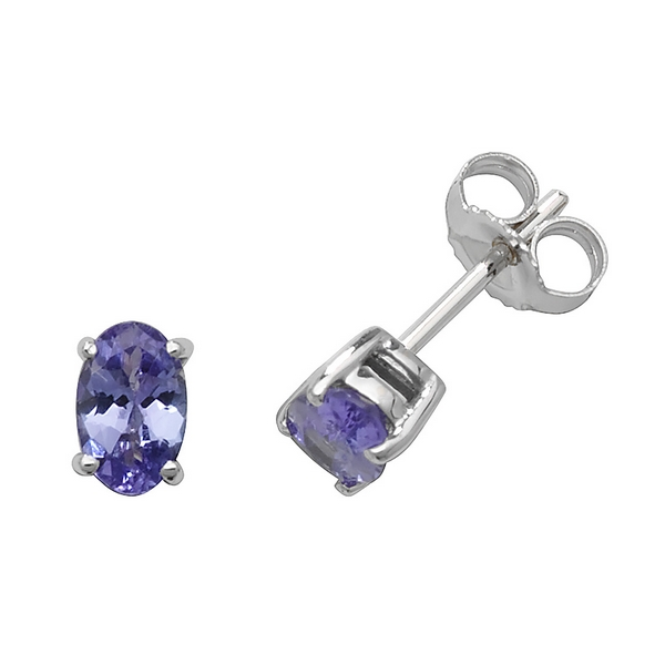 Solitaire Oval Tanzanite Stud Earrings in 9ct White Gold