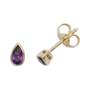 Rubover Pear Shaped Amethyst Stud Earrings in 9ct Yellow Gold