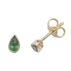 Rubover Pear Shaped Emerald Stud Earrings in 9ct Yellow Gold