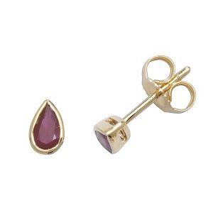 Rubover Pear Shaped Ruby Stud Earrings in 9ct Yellow Gold