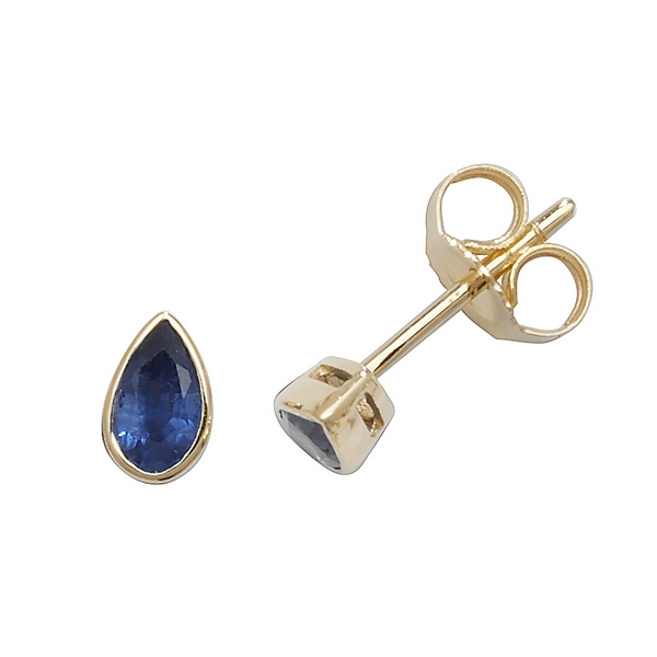 Rubover Pear Shaped Sapphire Stud Earrings in 9ct Yellow Gold