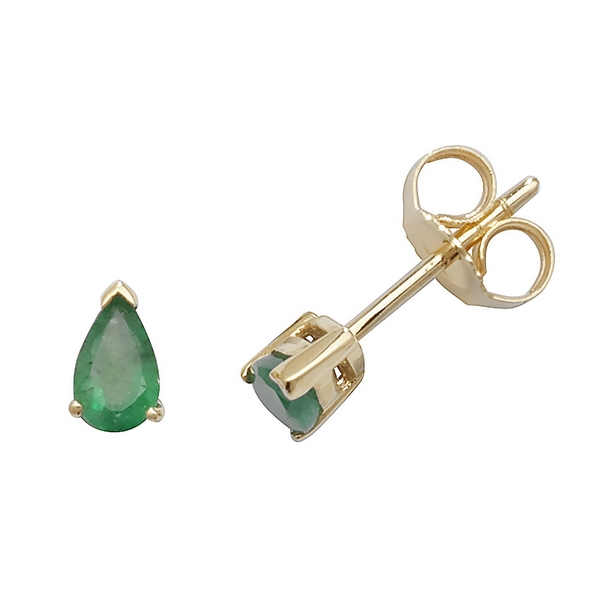 Claw Set Pear Shaped Emerald Stud Earrings in 9ct Yellow Gold