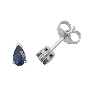 Claw Set Pear Shaped Sapphire Stud Earrings in 9ct White Gold