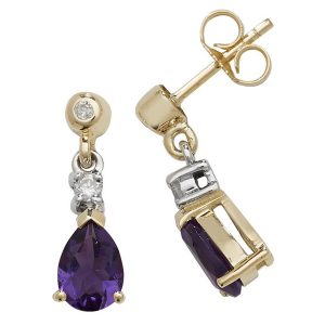 Pear Shaped Amethyst Drop Earrings in 9ct Yellow Gold
