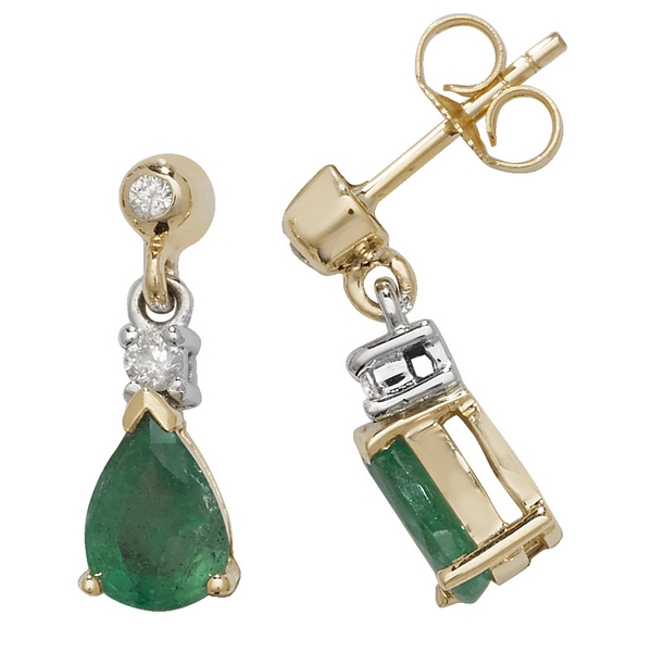 Pear Shaped Emerald Drop Earrings In 9ct Yellow Gold