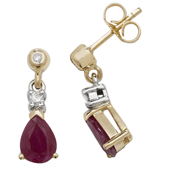 Pear Shaped Ruby Drop Earrings In 9ct Yellow Gold