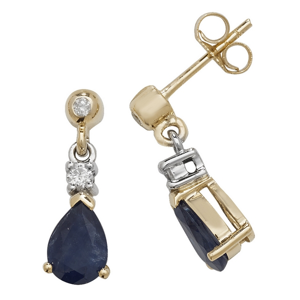 Pear Shaped Sapphire Drop Earrings in 9ct Yellow Gold