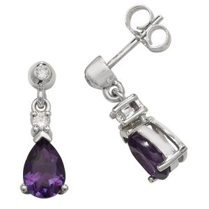 Pear Shaped Amethyst Drop Earrings in 9ct White Gold