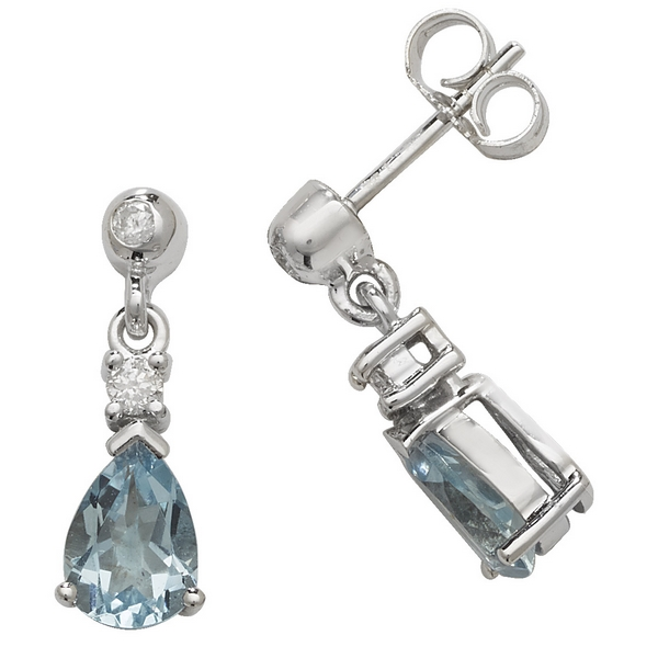 Pear Shaped Aquamarine Drop Earrings in 9ct White Gold