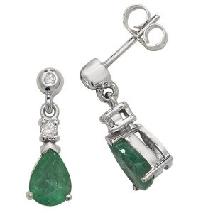Pear Shaped Emerald Drop Earrings in 9ct White Gold