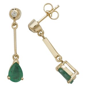 Pear Shaped Emerald Long Drop Earrings in 9ct Yellow Gold