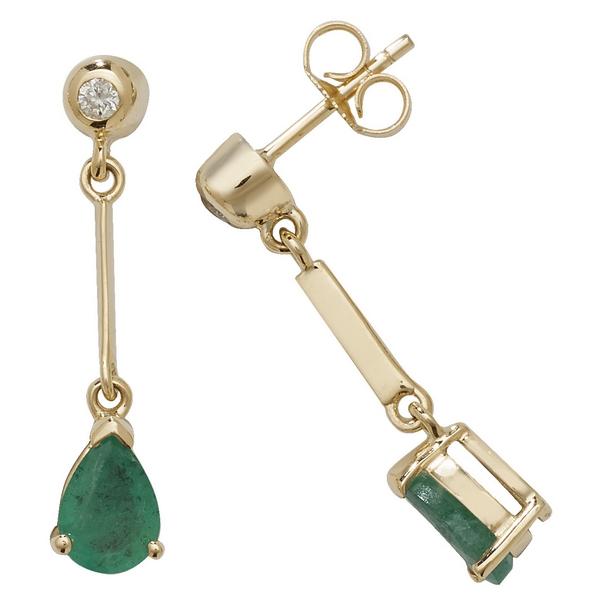 Pear Shaped Emerald Long Drop Earrings in 9ct Yellow Gold