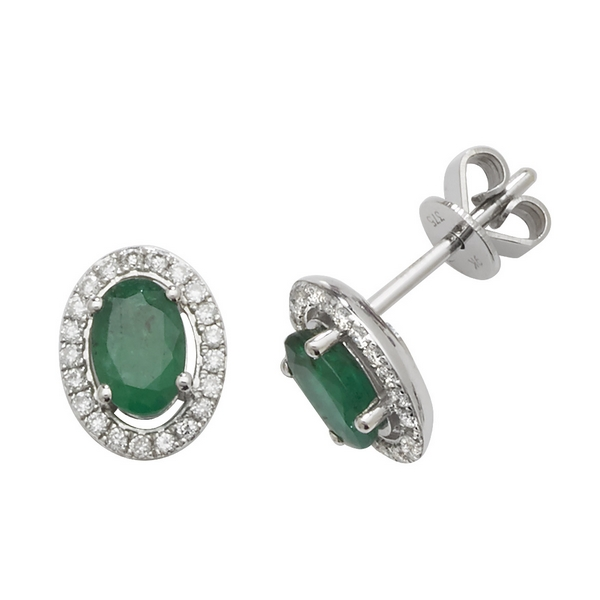Oval Shaped Emerald and Diamond Halo Style Stud Earrings in 9ct White Gold