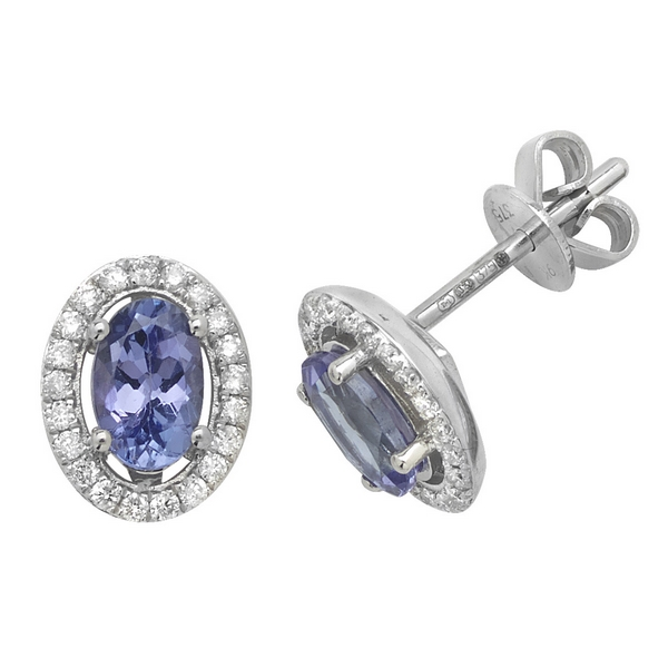 Oval Shaped Tanzanite and Diamond Halo Style Stud Earrings in 9ct White Gold