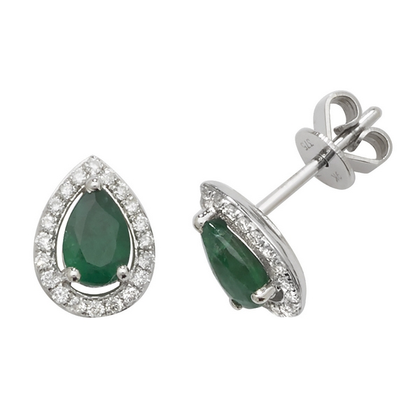 Pear Shaped Emerald and Diamond Halo Style Stud Earrings in 9ct White Gold
