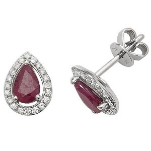 Pear Shaped Ruby and Diamond Halo Style Stud Earrings in 9ct White Gold