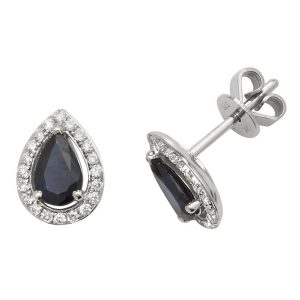 Pear Shaped Sapphire and Diamond Halo Style Stud Earrings in 9ct White Gold