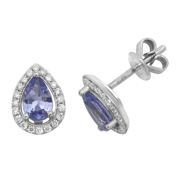 Pear Shaped Tanzanite and Diamond Halo Style Stud Earrings in 9ct White Gold