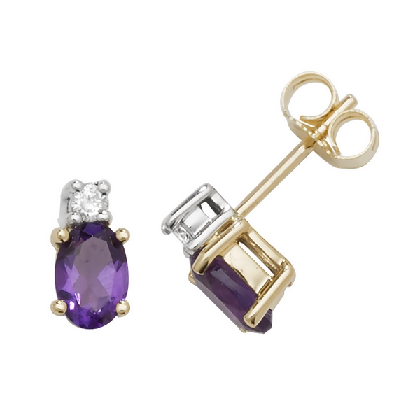 Oval Shaped Amethyst and Diamond Stud Earrings in 9ct Yellow Gold