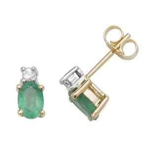 Oval Shaped Emerald and Diamond Stud Earrings in 9ct Yellow Gold