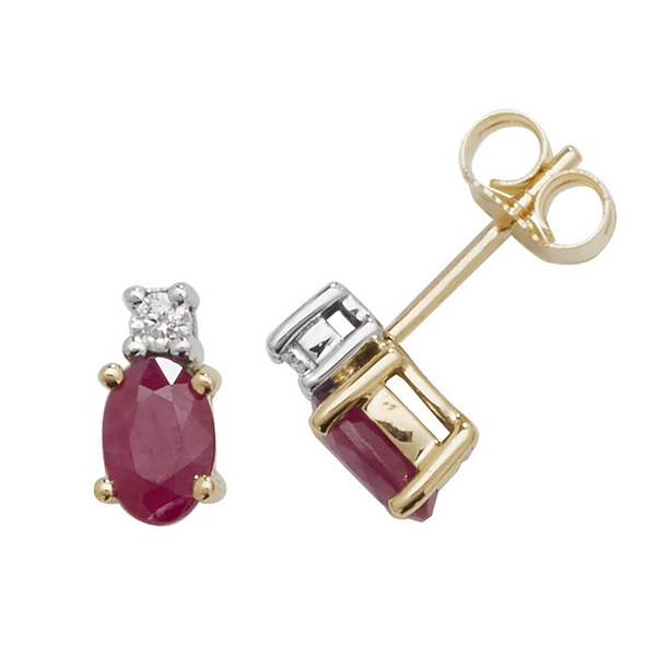 Oval Shaped Ruby and Diamond Stud Earrings in 9ct Yellow Gold