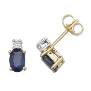 Oval Shaped Sapphire and Diamond Stud Earrings in 9ct Yellow Gold