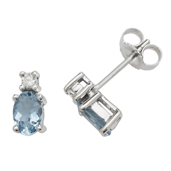 Oval Shaped Aquamarine and Diamond Stud Earrings in 9ct White Gold