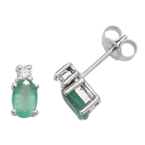 Oval Shaped Emerald and Diamond Stud Earrings in 9ct White Gold