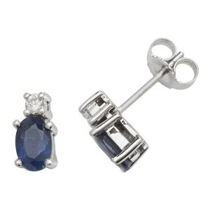 Oval Shaped Sapphire and Diamond Stud Earrings in 9ct White Gold
