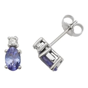 Oval Shaped Tanzanite and Diamond Stud Earrings in 9ct White Gold
