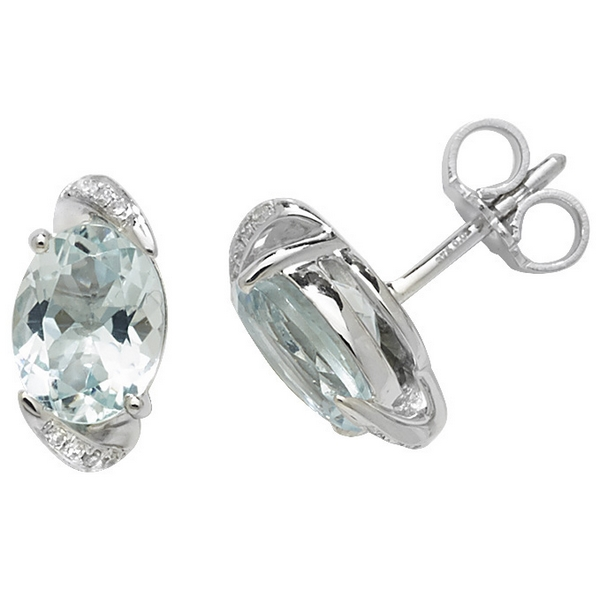 Diamond and Oval Shaped Aquamarine Stud Earrings in 9ct White Gold