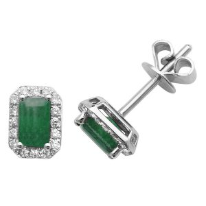 Octagon Style Emerald and Round Diamond Stud Earrings in 9ct White Gold