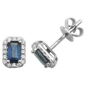 Octagon Style Sapphire and Round Diamond Stud Earrings in 9ct White Gold