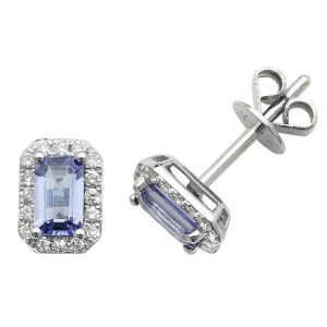 Octagon Style Tanzanite and Round Diamond Stud Earrings in 9ct White Gold