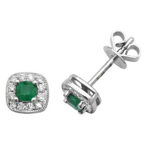 Cushion Style Emerald and Round Diamond Stud Earrings in 9ct White Gold
