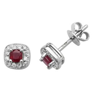 Cushion Style Ruby and Round Diamond Stud Earrings in 9ct White Gold