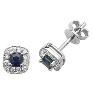 Cushion Style Sapphire and Round Diamond Stud Earrings in 9ct White Gold