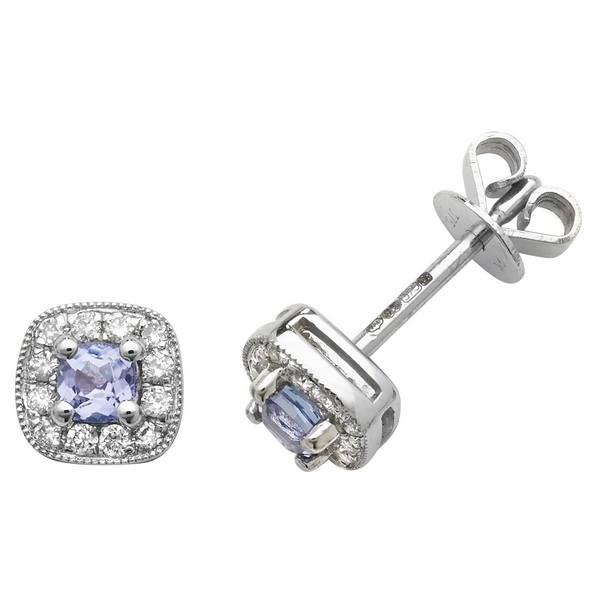 Cushion Style Tanzanite and Round Diamond Stud Earrings in 9ct White Gold