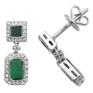 Octagon and Square Shaped Emerald and Round Diamond Drop Earrings in 9ct White Gold