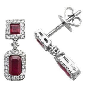 Octagon and Square Shaped Ruby and Round Diamond Drop Earrings in 9ct White Gold