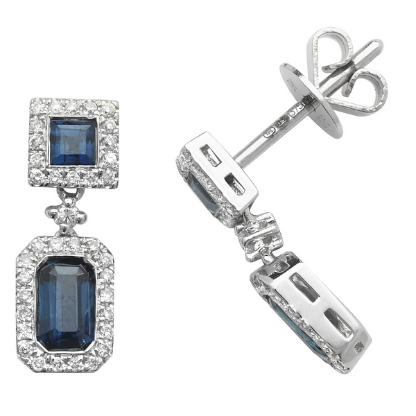 Octagon and Square Shaped Sapphire and Round Diamond Drop Earrings in 9ct White Gold