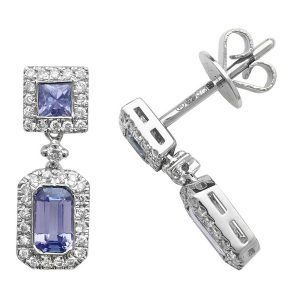 Octagon and Square Shaped Tanzanite and Round Diamond Drop Earrings in 9ct White Gold