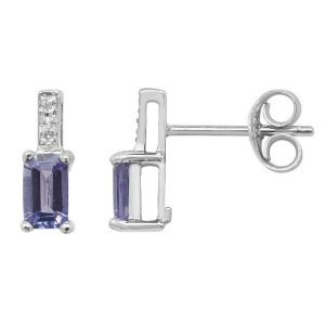 Diamond and Baguette Shaped Tanzanite Stud Earrings in 9ct White Gold